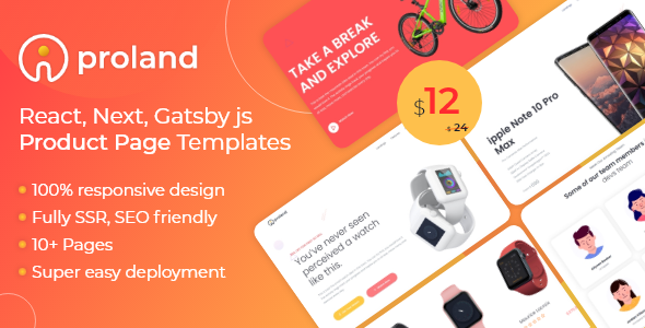 iProland  React Gatsby amp Next Product Landing Page Template TFx