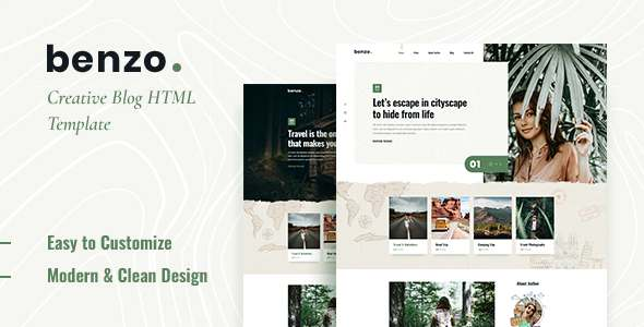 Benzo - Personal Travel Blog HTML5 Template TFx