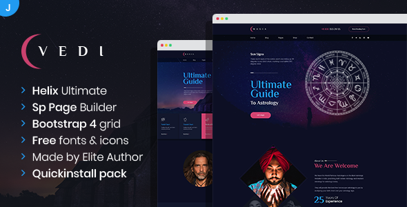 Vedi – Astrology and Esoteric SinglePage and MultePage Joomla Template TFx