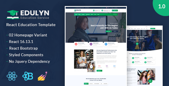 Edulyn – React Education Template TFx SiteTemplates