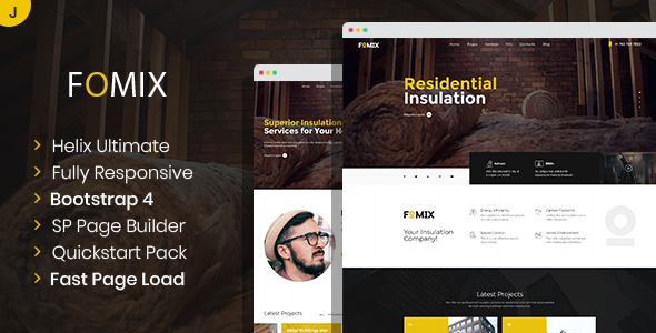 Fomix – House Insulation amp Energy Efficiency Joomla Template TFx