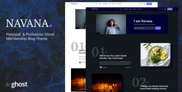 Navana - Personal and Professional Membership Ghost Blog Theme TFx