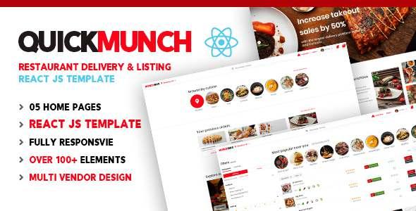 Quickmunch  Restaurant Listing React Template TFx