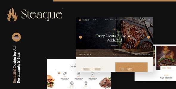 Steaque  Steak House and Coctail Bar Joomla Template TFx