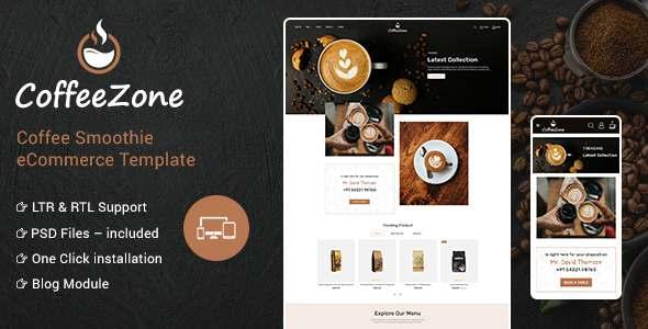 CoffeeZone - Cafe amp Coffee OpenCart Shop TFx
