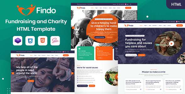 Findo - Fundraising amp Charity HTML Template TFx