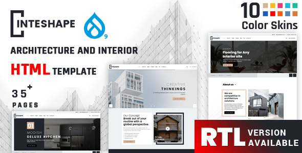 Inteshape - Architecture and Interior Drupal 9 Theme TFx