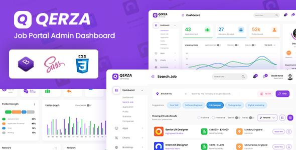 Qerza - Job Portal Admin Dashboard Bootstrap HTML Template TFx