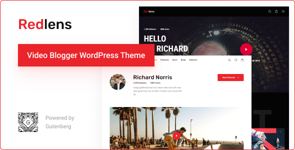 Redlens - Video Blogger WordPress Theme TFx