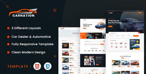 Carnation - Car Dealership and Listings HTML Template TFx