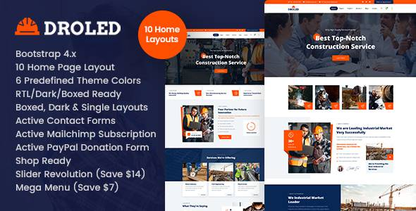 Droled – Factory Industrial HTML Template TFx