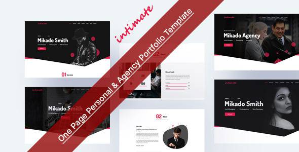 Intimate - One Page Personal amp Agency Portfolio HTML-5 Template TFx