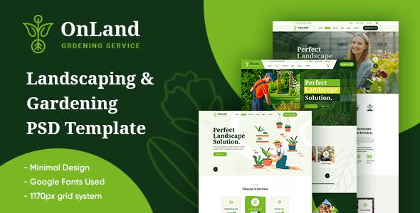 OnLand - Gardening and Landscaping PSD Template TFx