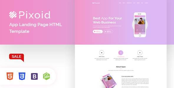 Pixoid - App Landing Page HTML Template TFx