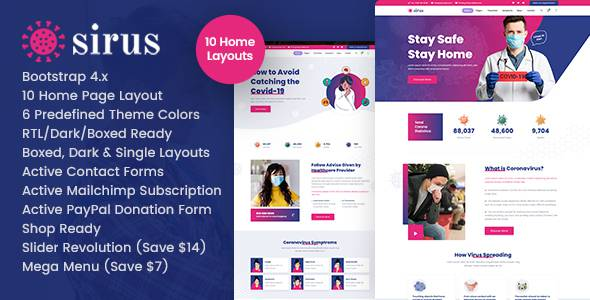 Sirus – Medical Health HTML Template TFx