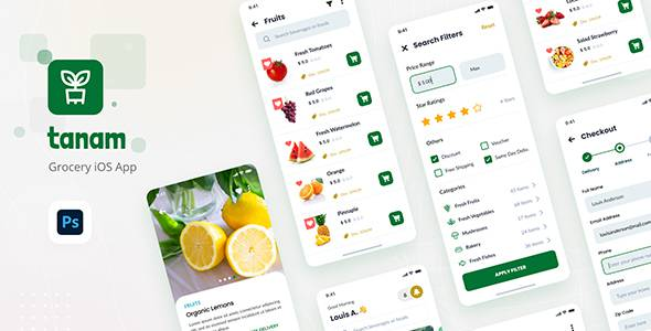 Tanam - Clean Grocery iOS App Design Template TFx