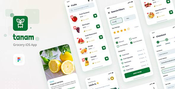 Tanam - Clean Grocery iOS App Design Template Figma TFx