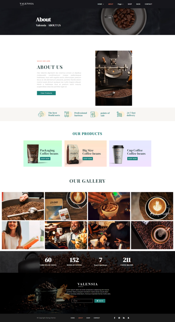 Valensia  Coffee Shop Elementor Template Kit TFx