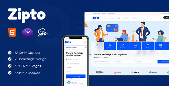 Zipto - Online Recharge and Shopping Template TFx