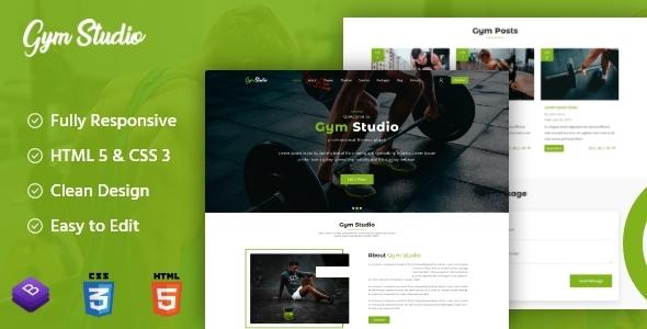 Gym Studio - Responsive Onepage Parallax HTML Template TFx