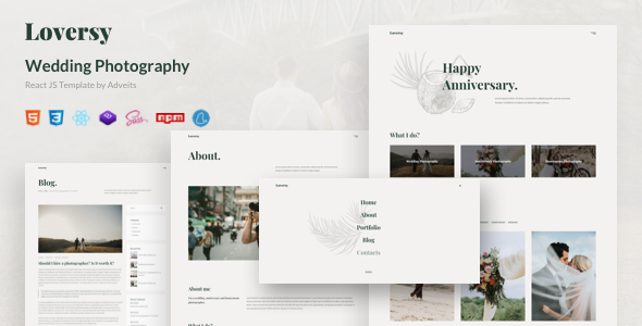 Loversy – Wedding Photography React JS Template TFx