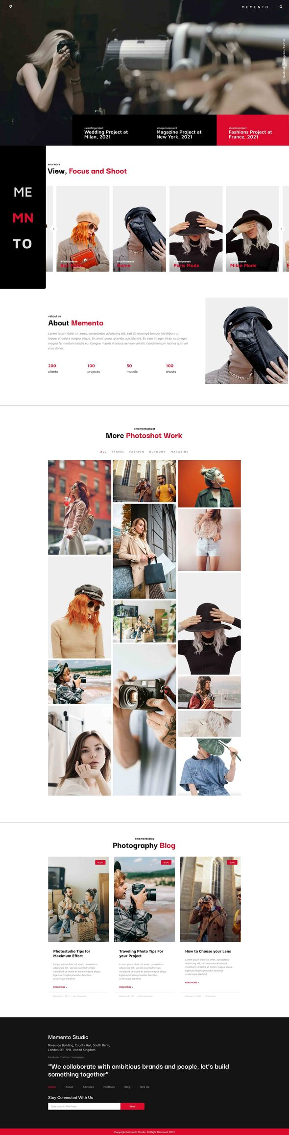 Memento - Photography amp Blog Elementor Template Kit TFx