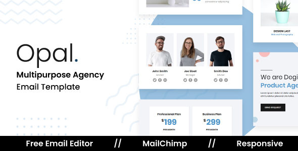 Opal - Responsive Email Template For Agency With Free Email Editor TFx