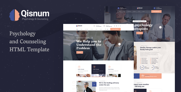Qisnum – Psychology amp Counseling HTML Template TFx