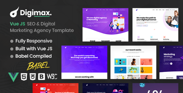 Vue JS SEO amp Digital Marketing Agency Template  Digimax TFx