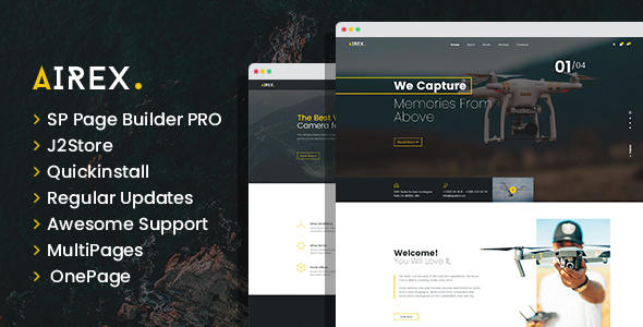 Airex - Drone and Copter Single and Multi page Joomla Template TFx