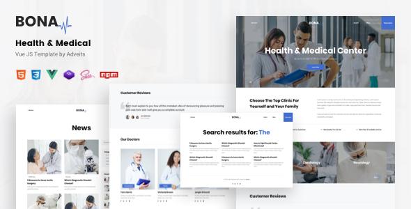 Bona - Health amp Medical Vue JS Template TFx