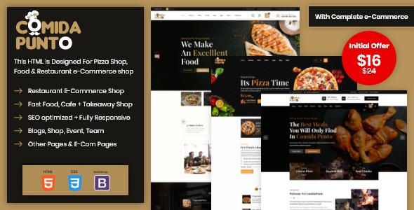 Comida Punto  Food Restaurant HTML Template TFx
