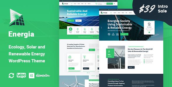 Energia - Renewable Energy WordPress Theme TFx