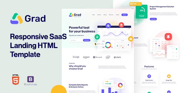 Grad - Responsive Sass Landing Page Template TFx