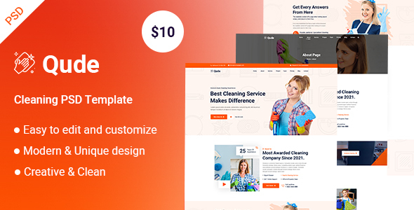 Qude- Cleaning PSD Template TFx