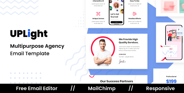 Uplight Agency - Responsive Email Template For Agency With Free Email Editor TFx