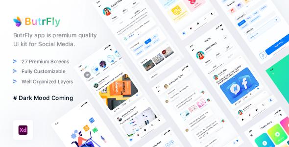 ButrFly - Social UI Kit For XD TFx