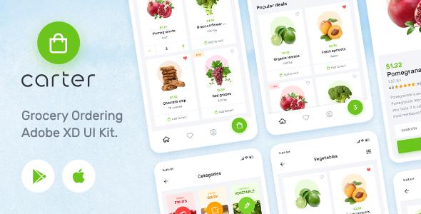 Carter  Grocery Application Adobe XD Mobile UI Kit TFx