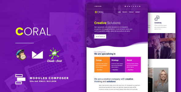 Coral - Responsive Email for Agencies Startups amp Creative Teams with Online Builder TFx