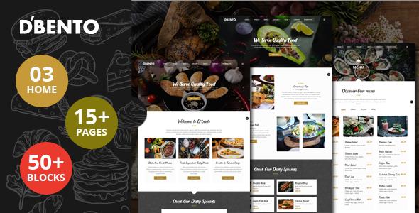 Dbento  Food Restaurant HTML5 Template TFx