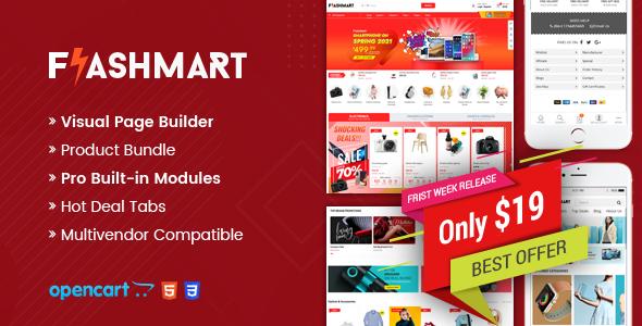 FlashMart - Multipurpose Supermarket OpenCart 3 Theme TFx