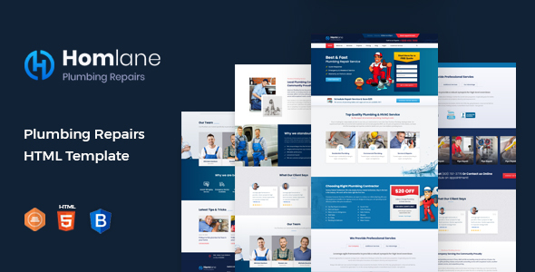 Homlane - Plumbing HTML Template TFx SiteTemplates