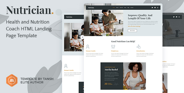 Nutrician - Health and Nutrition Coach Feminine HTML Landing Page Template TFx