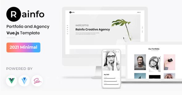 Rainfo - Vue JS Minimal Agency and Portfolio Template TFx