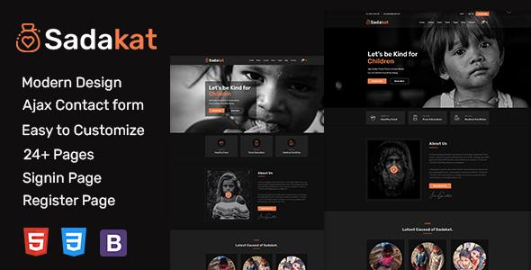 Sadakat - Charity Nonprofit HTML 5 Template TFx