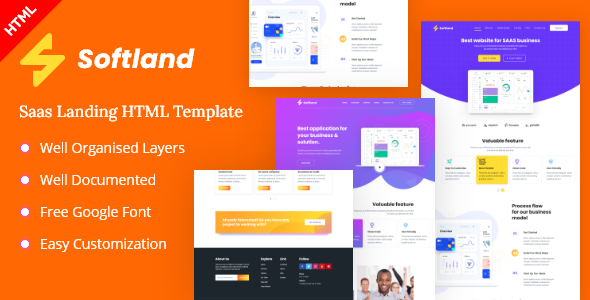 Softland-Saas Landing Page HTML Template TFx