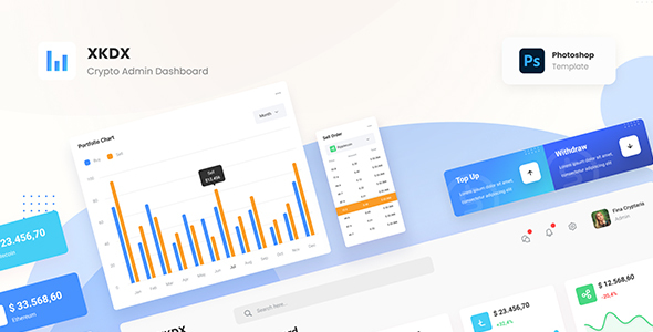 XKDX - Clean Crypto Admin Dashboard Template PSD TFx