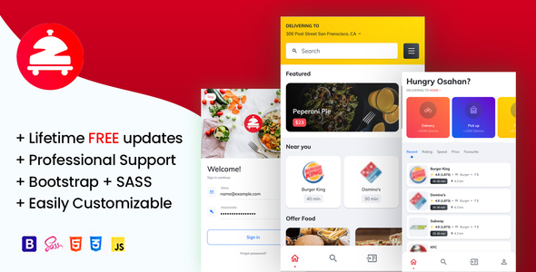Zomoto - Food Order Directory Restaurants Fast Food Bars Mobile Template TFx
