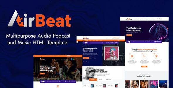 AirBeat  Multipurpose Audio Podcast amp Music HTML Template TFx
