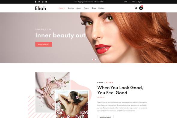 Eliah - Beauty Salon amp Cosmetic Elementor Template Kit TFx